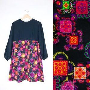 60s 70s psychedelic babydoll empire waist mini