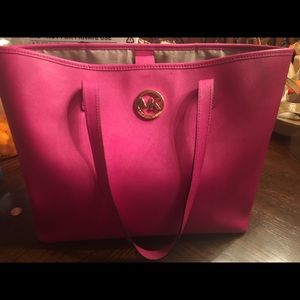 Michael Kors Hot Pink Saffiano Leather tote!
