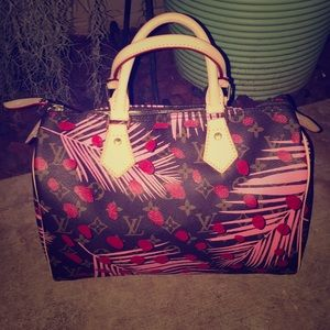 Pink Palm Red Dot Painted Bag