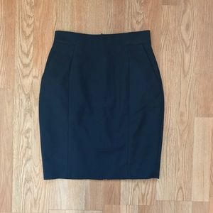 H&M Navy Blue Pencil Skirt with Slit Size 6