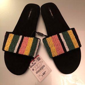 NWT - ZARA stunning beaded ladies sandals -Sz.38