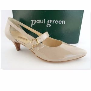 New PAUL GREEN Nude Patent Mary Jane Pumps