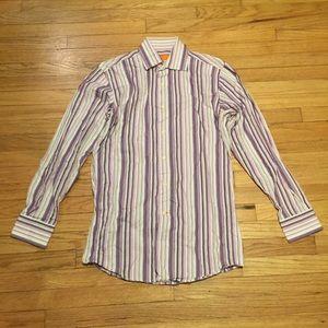 Tallia purple striped l/s button up shirt - Small