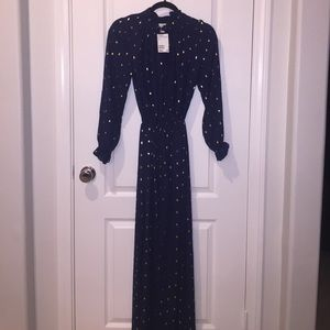✨🆕✨H&M Navy blue and gold maxi dress Size 2