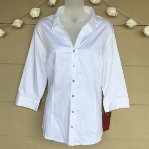 212 Collection • NWT White Button Down Blouse