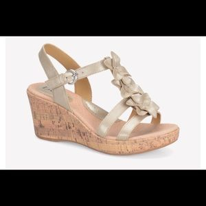Champagne wedge sandal with flower accents