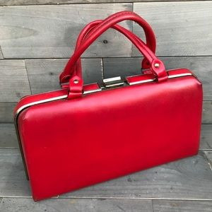 Darling red leather briefcase purse w/ gold latch