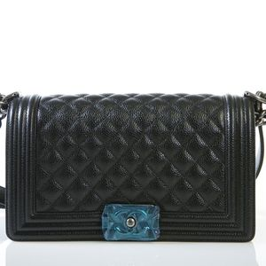 Le boy Caviar Medium Ruthenium Chain Bag
