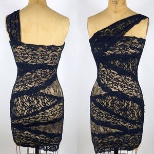 Bebe Nude Lace Wrapped One Shoulder Bodycon Dress
