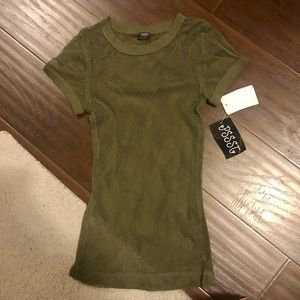 Army green mesh net top