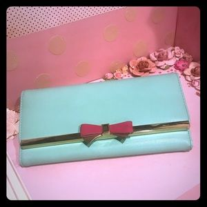 Mint and Pink Bow Wallet