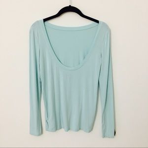 Aerie blue dipped back long sleeve