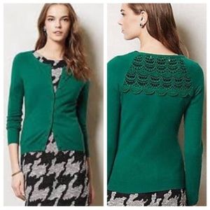 Anthropologie Sparrow Green Cardigan crochet back