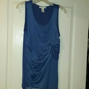 Blue sheer over viscose flower ruffle sleeveless