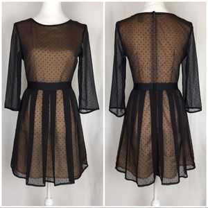 H&M Black & Peach Overlay Dress