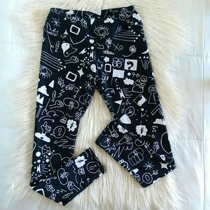 Graphic Print Black High Waisted Leggings