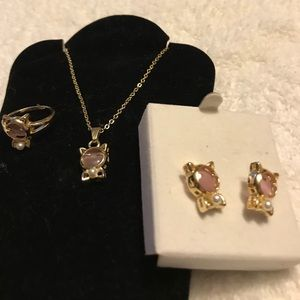 Other - Gold Necklace Earring Ring Hello Kitty