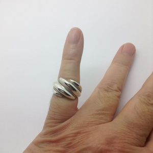 sterling silver 14k gold Rope fashion dome ring