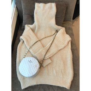 Cream/Ivory Knitted Turtleneck Sweater Free Size