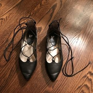 BP Nordstrom Lace Up Ballet Flats