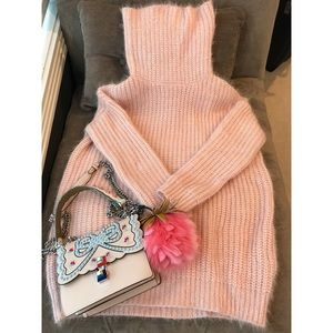 Pale Pink Knitted Turtleneck Sweater Free Size