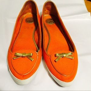 Tory Burch Orange Sneaker Flat Pointed Toe, Bows