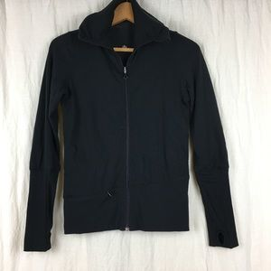 Lululemon black zip rauched front jacket thumbhole