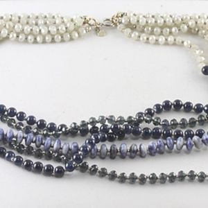 Gorgeous Multi-Strand Blues and Whites Necklace