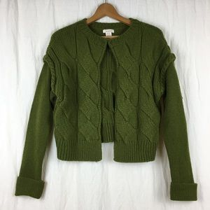 Sundance green wool cable knit cardigan sweater S