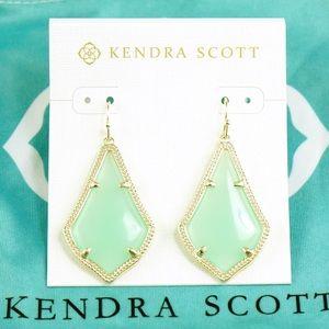 Kendra Scott Alex chalcedony Earrings gold green