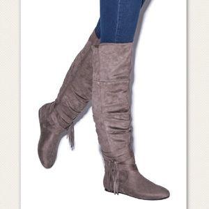 Dark Taupe Knee High Flat Boots Sz 9