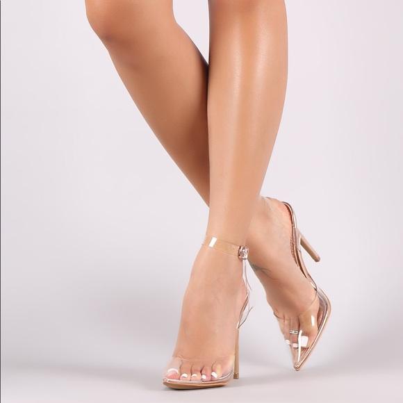 12c21e05b40  Shoe Republic LA  Clear Pump w  Gold Heel