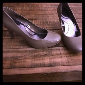 Taupe Patent Leather Pumps