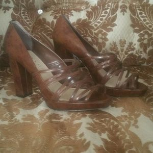 Size 9.5 shiny (patent) brown heels