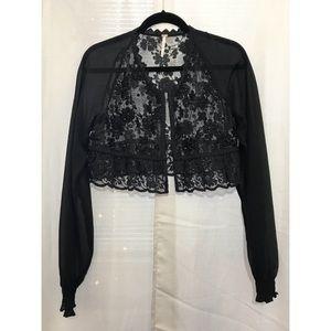 Free People Mesh Embroidery Crop Cardigan