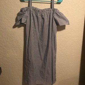Bobeau striped cold shoulder dress