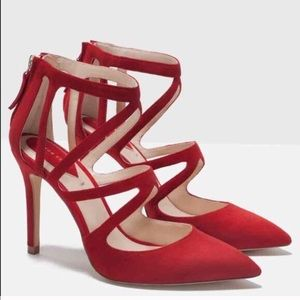 Zara red suede shoes