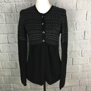 Calvin Klein Black Shiny Flared Cardigan Sweater