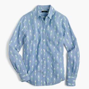 J.CREW Ikat Print Perfect Shirt in Bright Peri