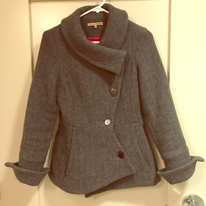Asymmetric 99% wool pea coat - made in the USA