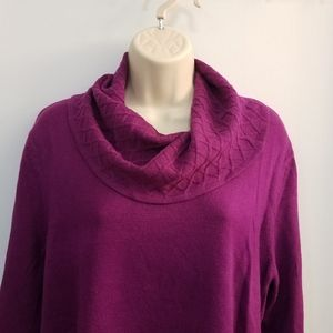 JM Collection Cowl Neck Sweater Pink PXL