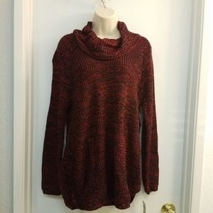 Style & Co Knit Textured Cowl Neck Sweater PXL Red