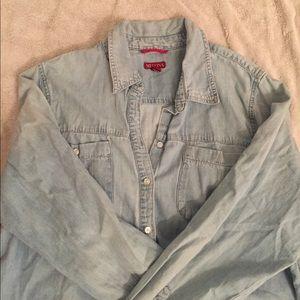 Merona Light Wash Denim Shirt Size XXL EUC