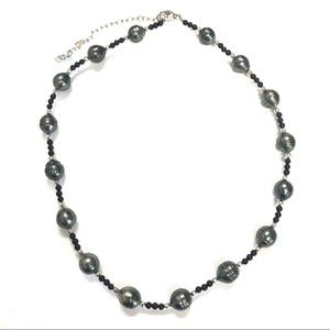 Tahitian Pearl Station and Black Onyx Necklace