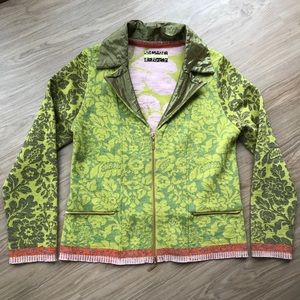 Eva & Claudi Floral Knit Wool Zip Up Cardigan SZ L