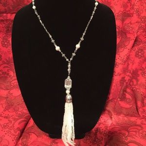 "21"" Silver, Clear, & White Necklace"