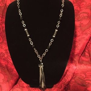"36"" Black & Silver Bead Necklace"