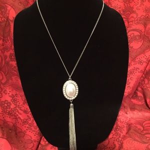 "20"" Silver & White Beaded Necklace"