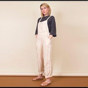 Vintage 90s beige tan linen overalls