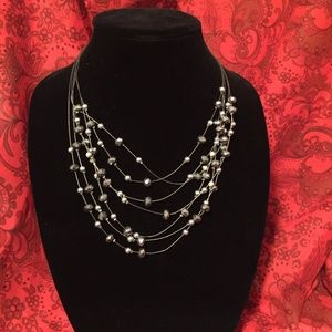 "20"" metallic silver beaded fashion necklace"
